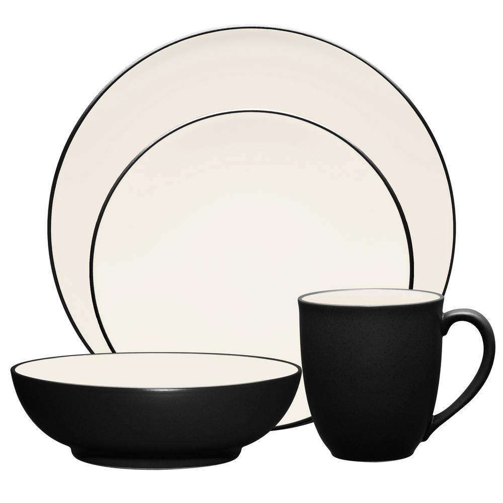 Colorwave Coupe 4-Piece Casual Graphite Stoneware Dinnerware Set (Service for 1)
