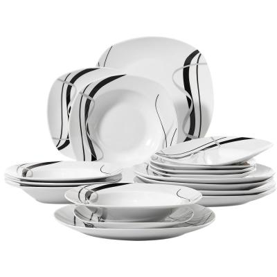 FIONA 18-Piece White Porcelain Dinner Plates Black Stripe Ceramic Dinnerware Plate Set(Service for 6)