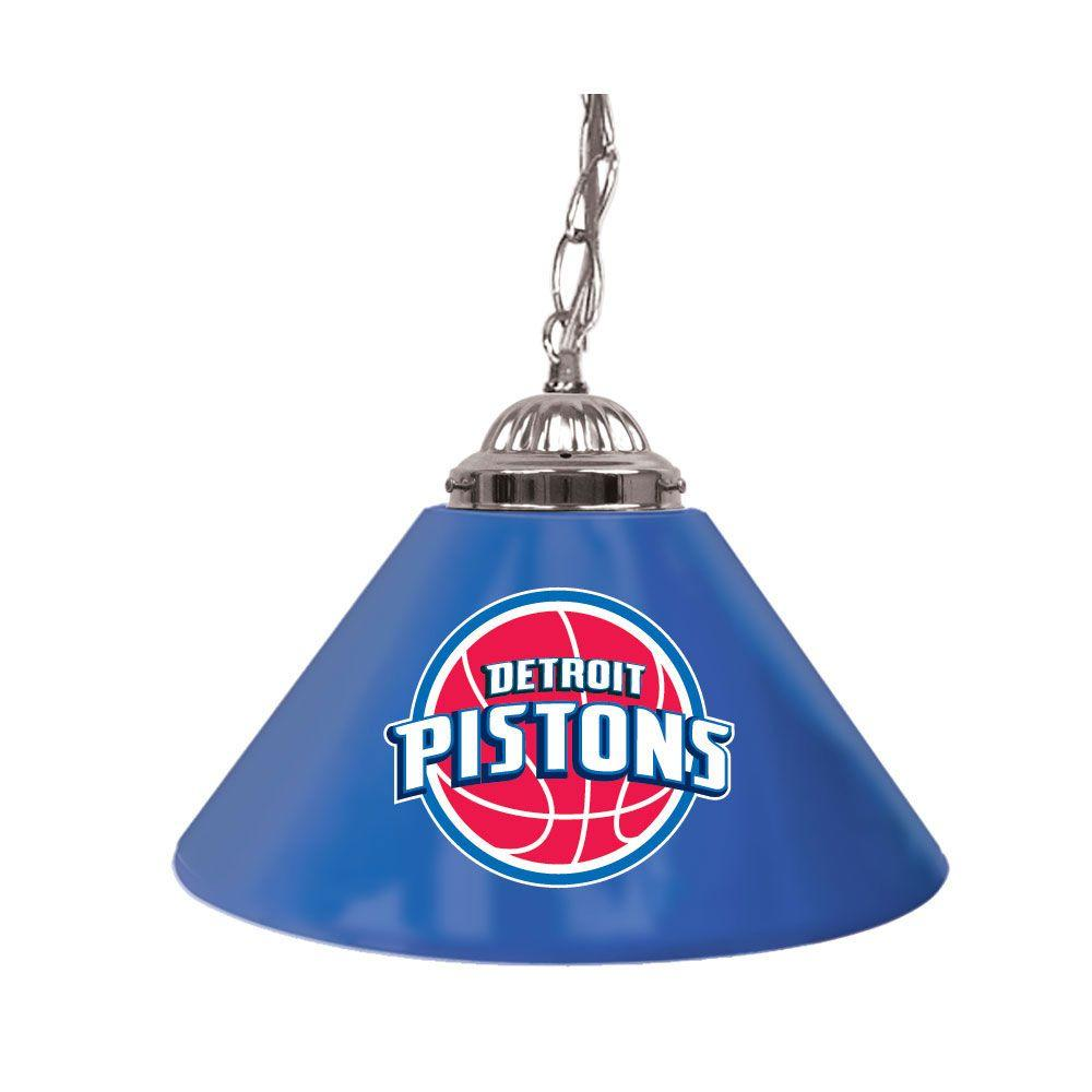 Trademark Detroit Pistons NBA 14 in. Single Shade Stainless Steel Hanging Lamp