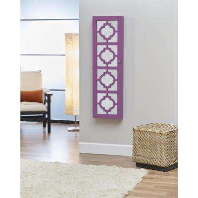 Purple Designer Jewelry Armoire with Decorative Mirror