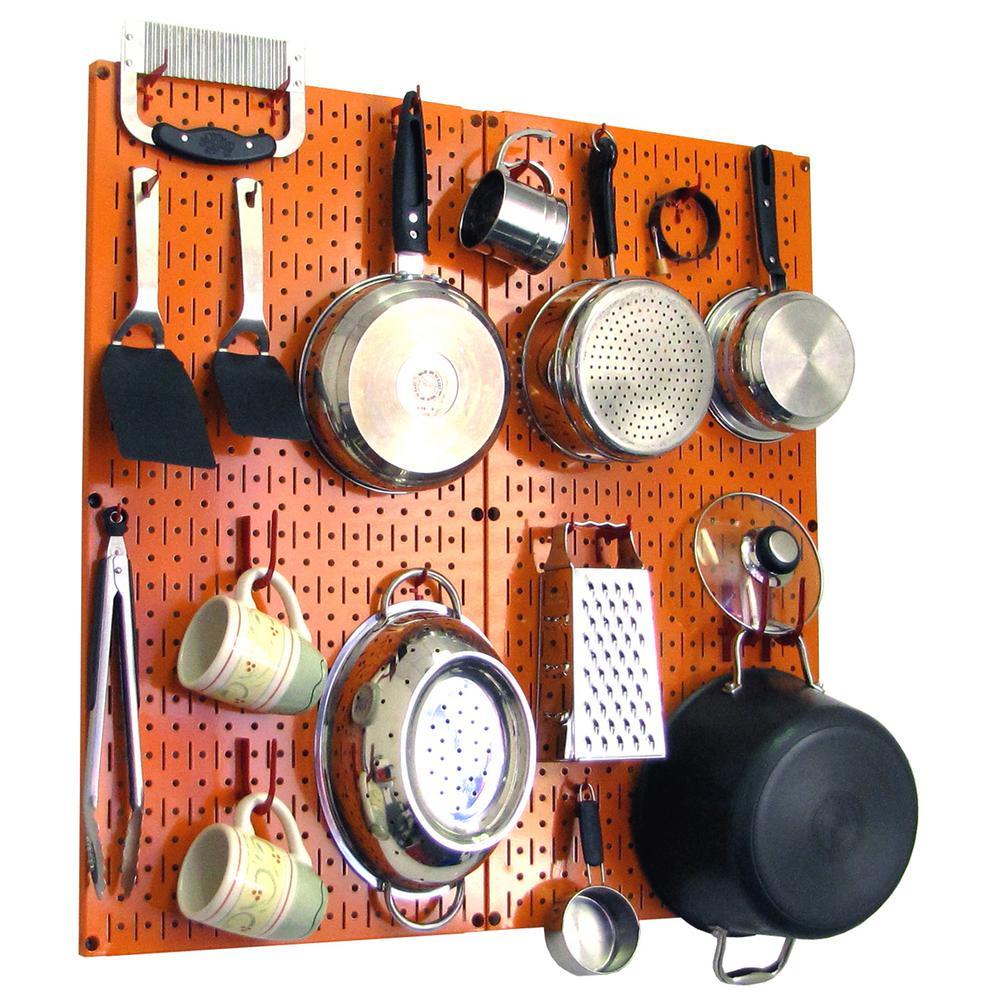 Kitchen Pegboard 32 in. x 32 in. Metal Peg Board Pantry Organizer Kitchen Pot Rack Orange Pegboard and Red Peg Hooks