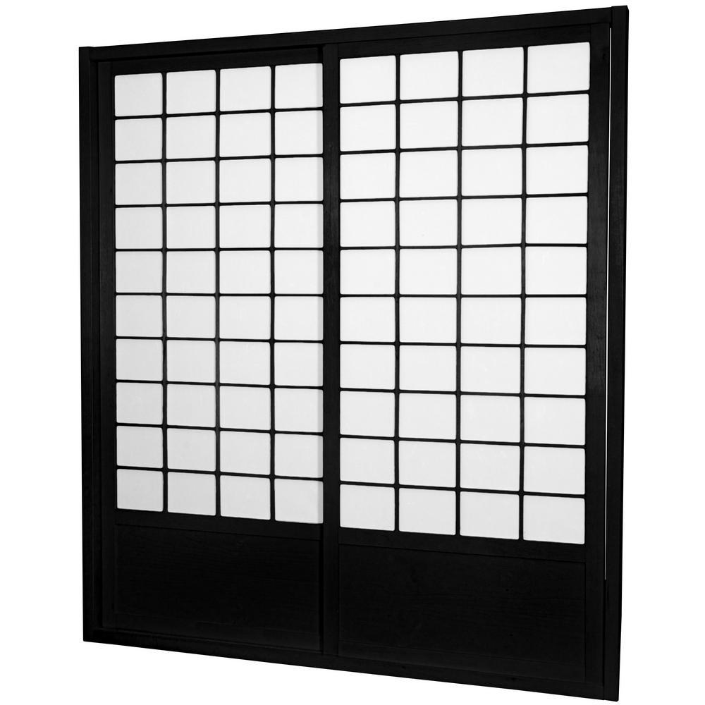 7 ft. Black Shoji 2-Panel Sliding Door