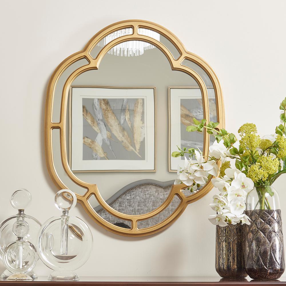 Dauphin Golden Oak Scalloped Gold Accent Wall Mirror