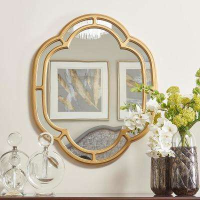 Dauphin Golden Oak Scalloped Gold Accent Wall Mirror