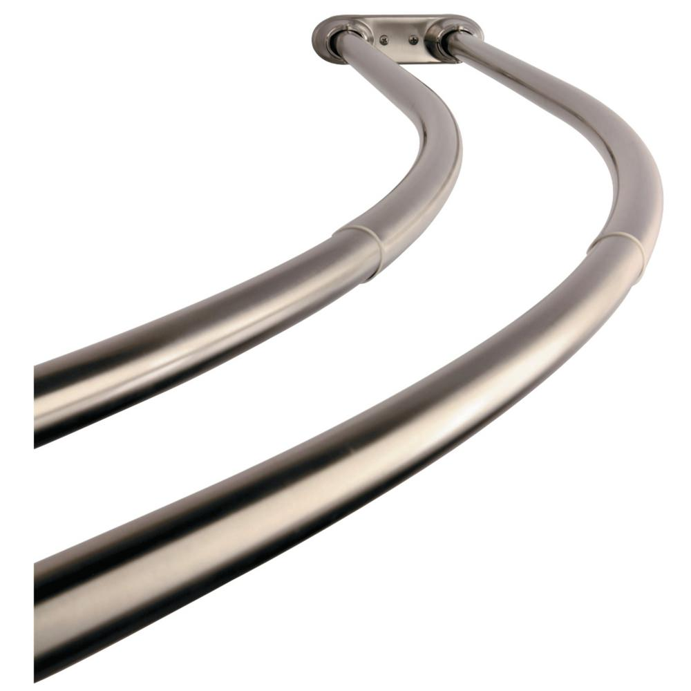 Kingston Brass Vintage 60 In To 72 Double Curved Shower Curtain Rod Brushed Nickel