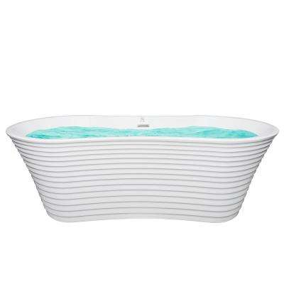 67 in. Acrylic Center Drain Oval Double Slipper Flatbottom Non-Whirlpool Freestanding Bathtub in White with Overflow