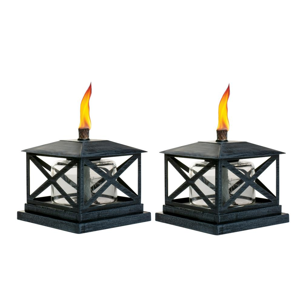 Tiki 5 5 In Petite Lantern Metal Table Torch Black 2 Pack