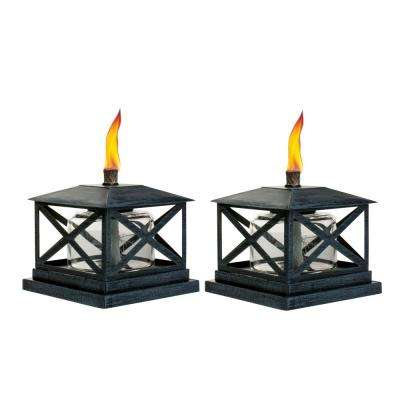 5.5 in. Petite Lantern Metal Table Torch Black (2-Pack)
