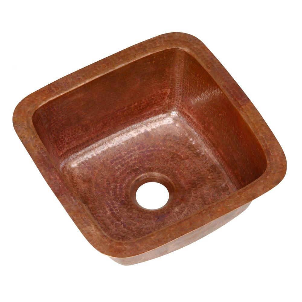 SINKOLOGY Pollock Undermount Handmade Pure Solid Copper 12 in. 0-Hole Bar Prep Copper Sink in Fired Natural Copper