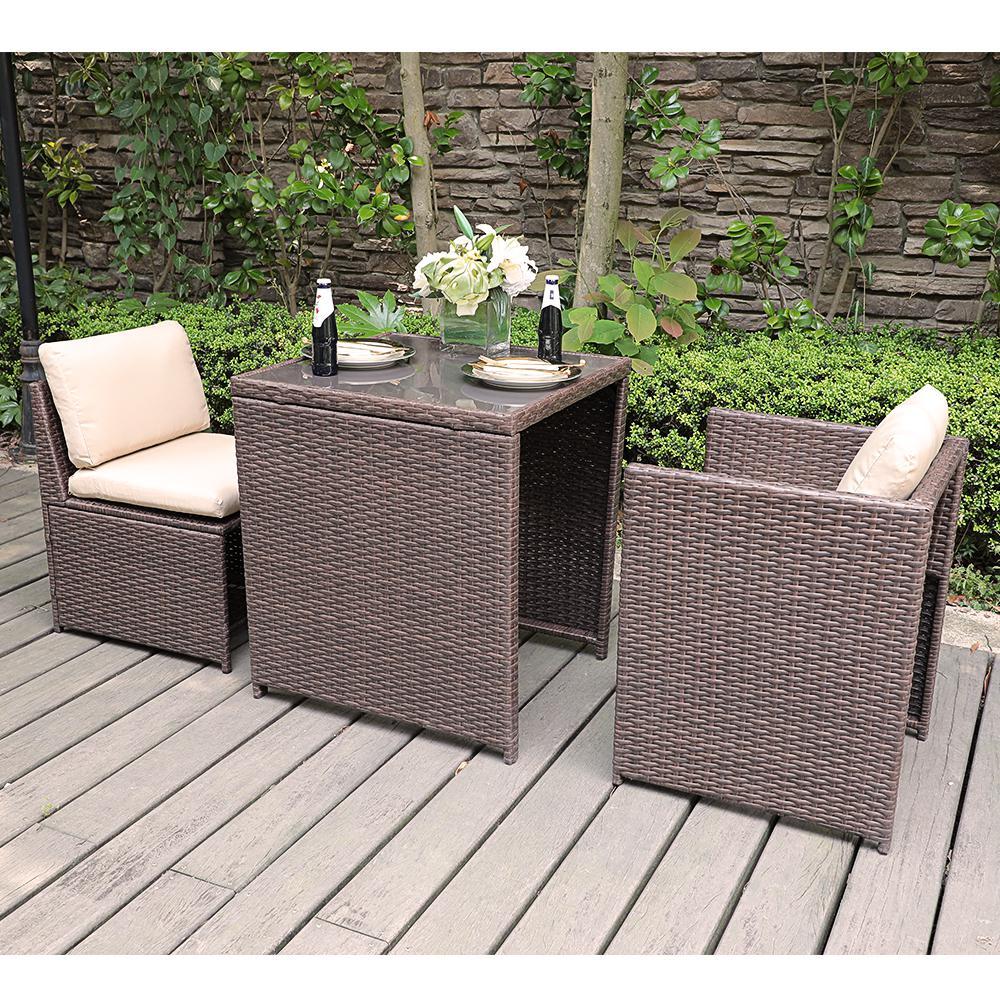 SUNSITT Black 3-Piece Wicker Outdoor Dining Set with Beige Cushions