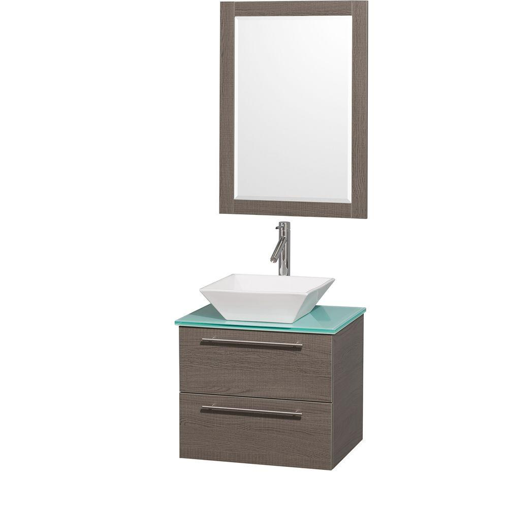 Wyndham Collection Amare 24 in. Vanity in Grey Oak with Glass Vanity Top in Aqua and White Porcelain Sink
