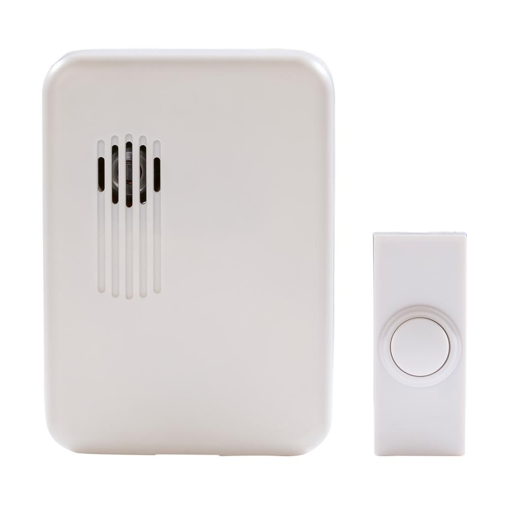 White Wireless Battery Operated Door Bell Kit with 1-Push Button