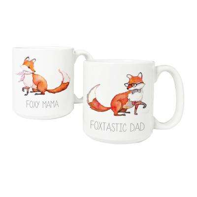 Foxtastic Dad and Foxy Mama 20 oz. Large Coffee Mugs (Set of 2)