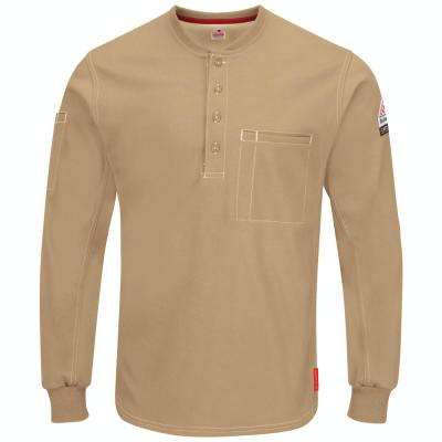 iQ Series Plus Men's X-Large Khaki Long Sleeve Henley Shirt