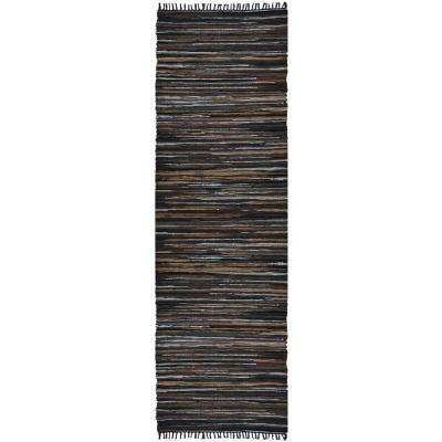 Mixed Brown Leather 2 ft. 6 in. x 14 ft. Runner Rug