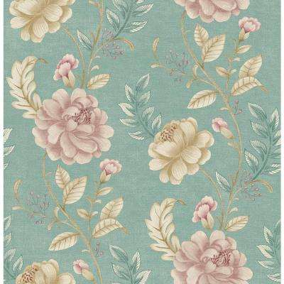 Summer Palace Turquoise Floral Trail Wallpaper