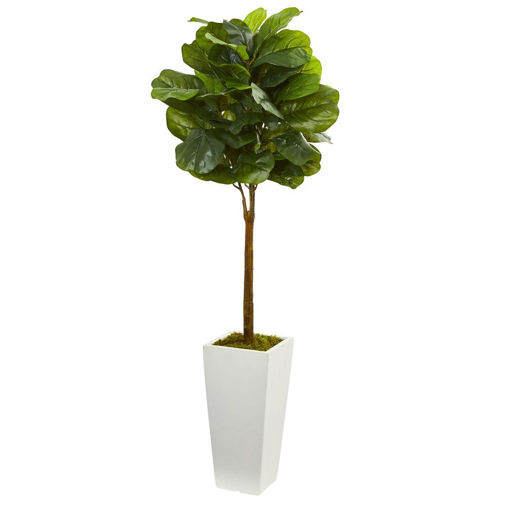 Nearly Natural 4 In Fiddle Leaf Artificial Tree In White Tower Planter 5873 The Home Depot