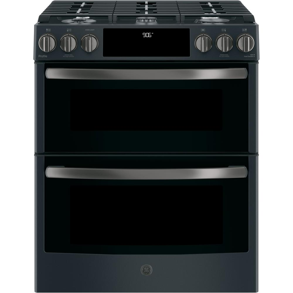 Ge Profile 6 7 Cu Ft Slide In Smart Double Oven Gas Range With Self Cleaning Black Slate Fingerprint Resistant Pgs960felds The Home Depot