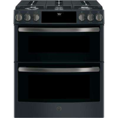 Profile Series 30 in. Slide-In Double Oven Gas Range with Convection Oven in Black Slate, Fingerprint Resistant
