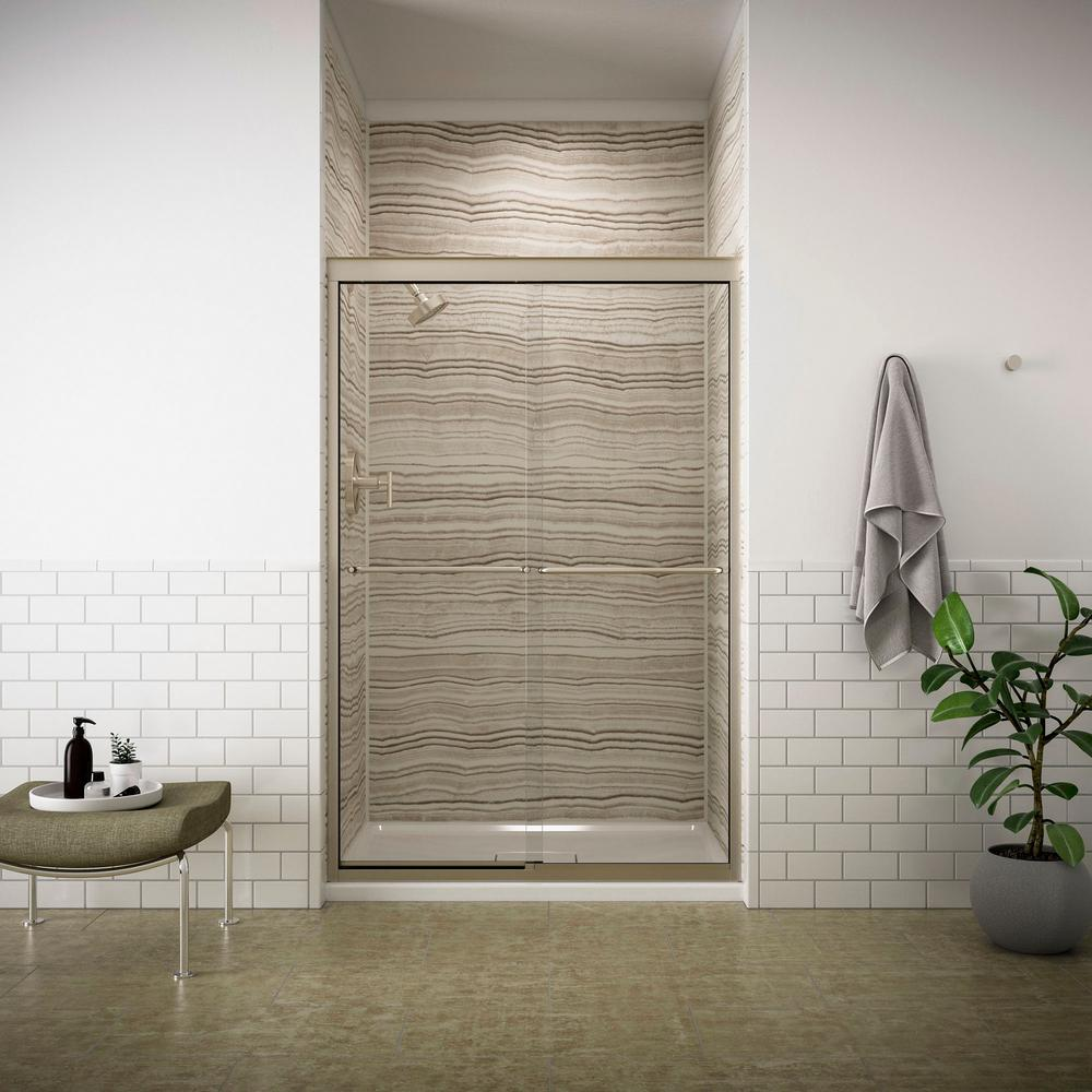 Fluence 47-5/8 in. x 70-5/16 in. Semi-Frameless Sliding Shower Door in