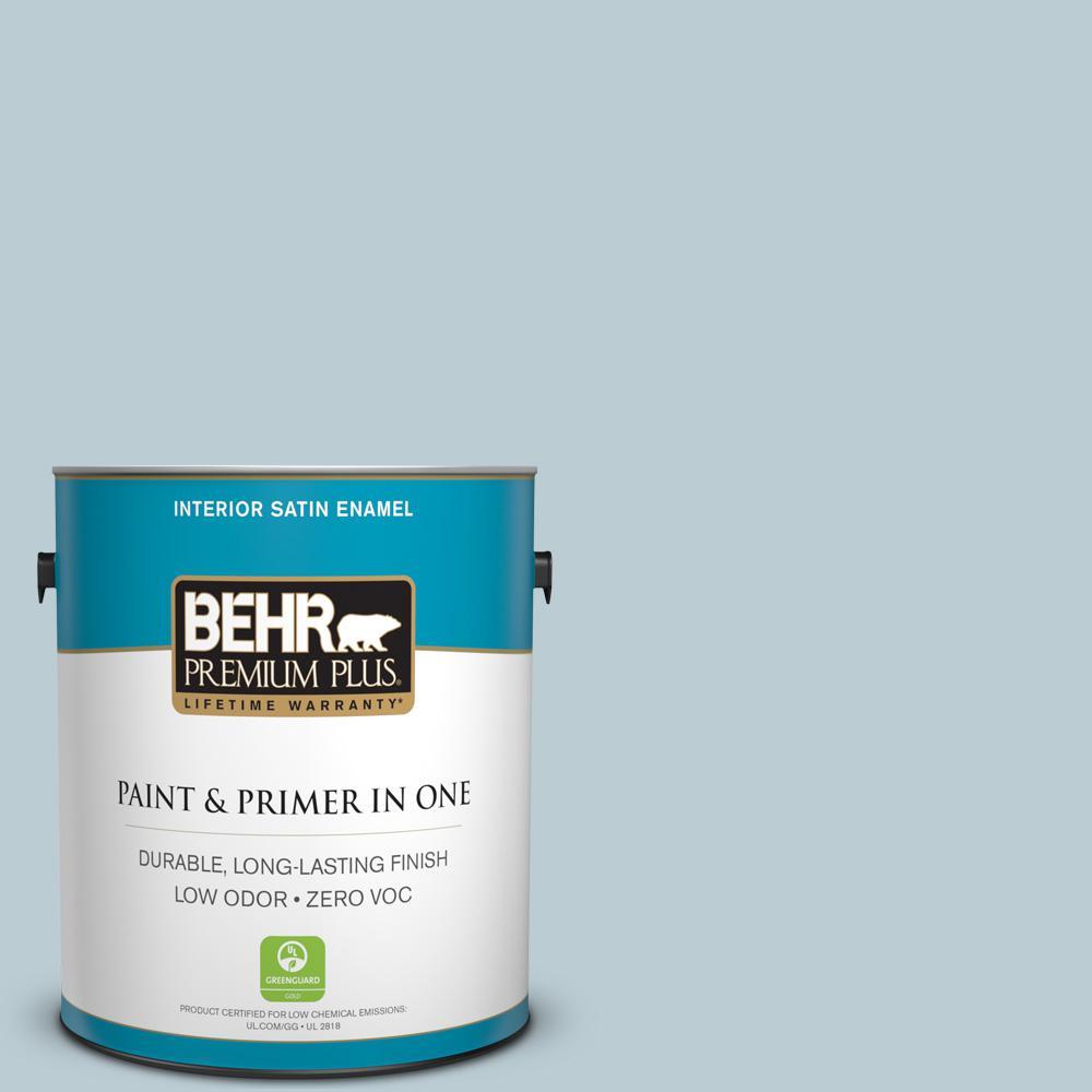 BEHR Premium Plus 1 gal. #540E-2 Cloudy Day Satin Enamel Zero VOC Interior Paint and Primer in One