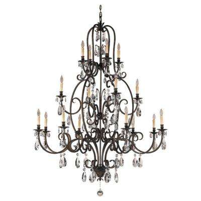 Salon Maison 16-Light Aged Tortoise Shell Multi-Tier Chandelier