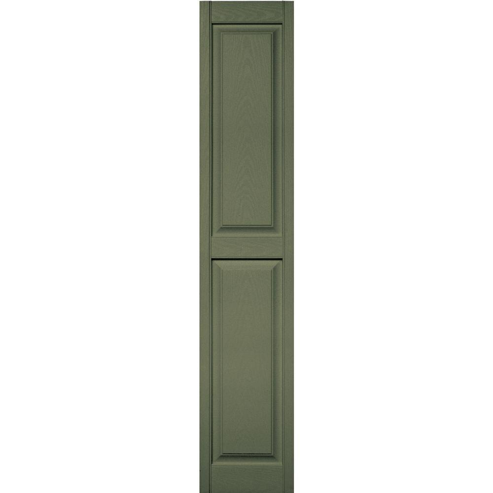 Builders Edge 15 in. x 75 in. Raised Panel Vinyl Exterior Shutters Pair in #282 Colonial Green