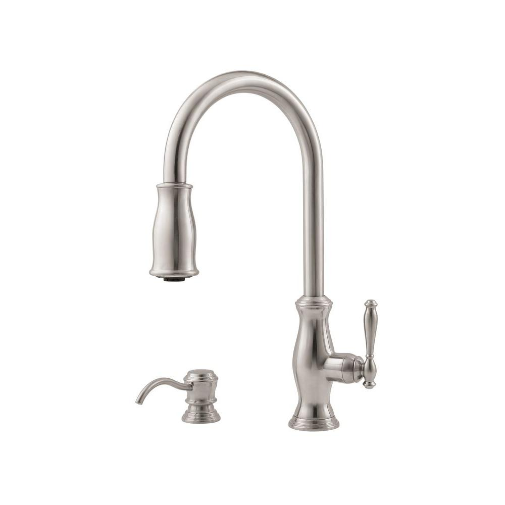Pfister Hanover Lead-Free Single-Handle Pull-Down Sprayer Kitchen Faucet with Soap Dispenser in Stainless Steel