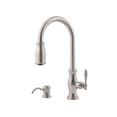 Hanover Lead Free Single Handle Pull Down Sprayer Kitchen Faucet With Soap  Dispenser