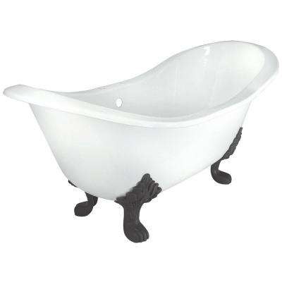 71 in. Double Slipper Cast Iron Tub Rim Faucet Holes in White with Lion Paw Feet in Chrome