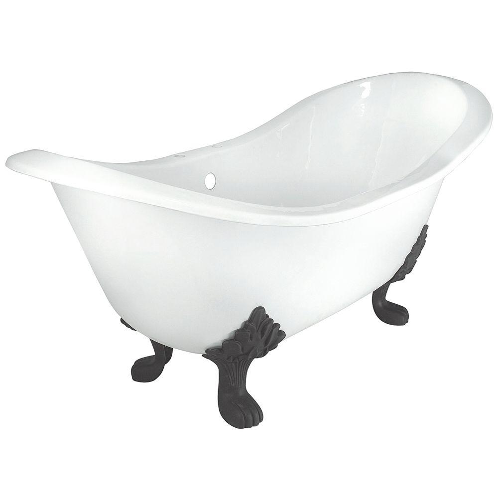 Elizabethan Classics 71 in. Double Slipper Cast Iron Tub Rim Faucet Holes in White with Lion Paw Feet in Satin Nickel