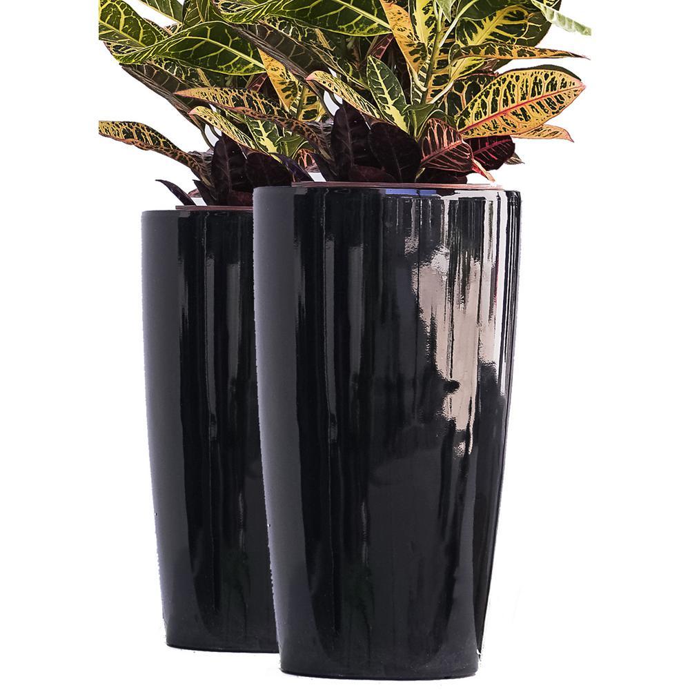 Tall Black Nested Plastic Self Watering
