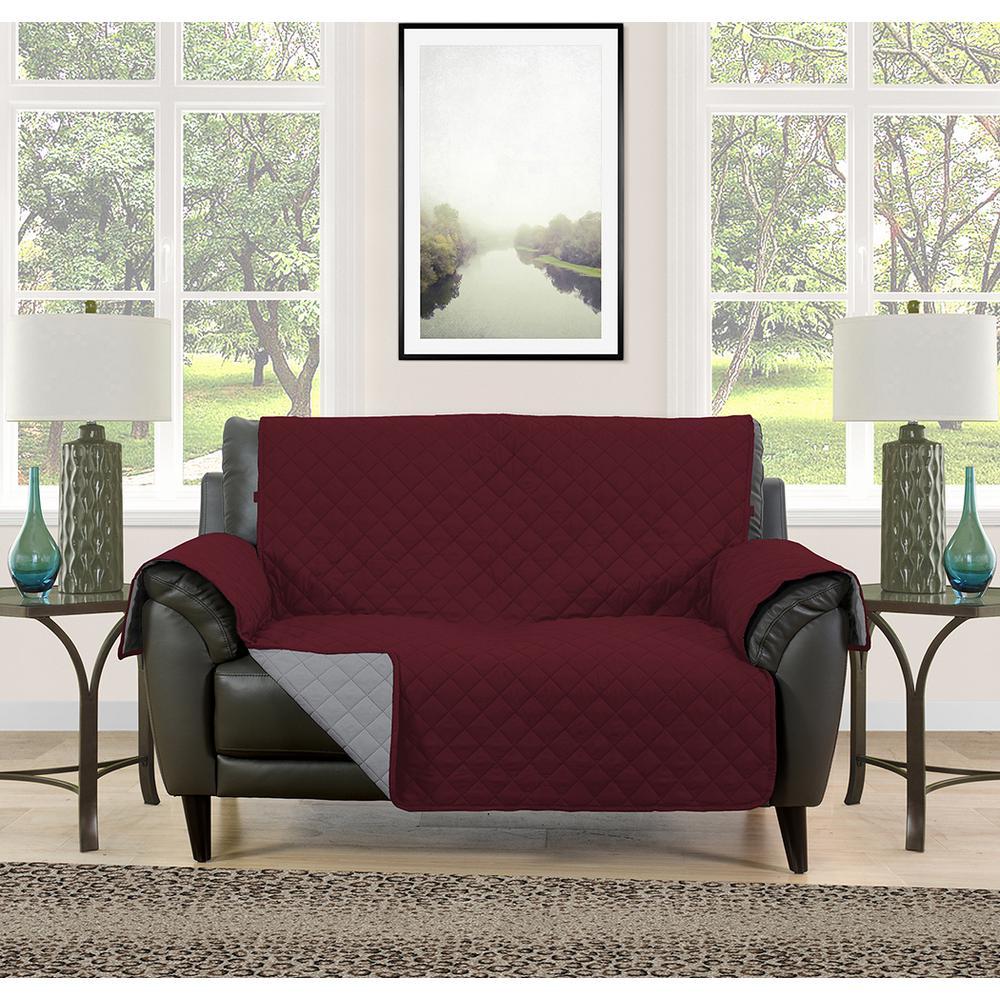 Wondrous Barrett Burgundy Grey Microfiber Reversible Loveseat Protector Ibusinesslaw Wood Chair Design Ideas Ibusinesslaworg