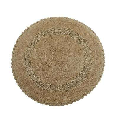 Crochet Lace 36 in. Round Cotton Reversible Beige Hand Knitted Crochet Lace Border Machine Washable Bath Rug