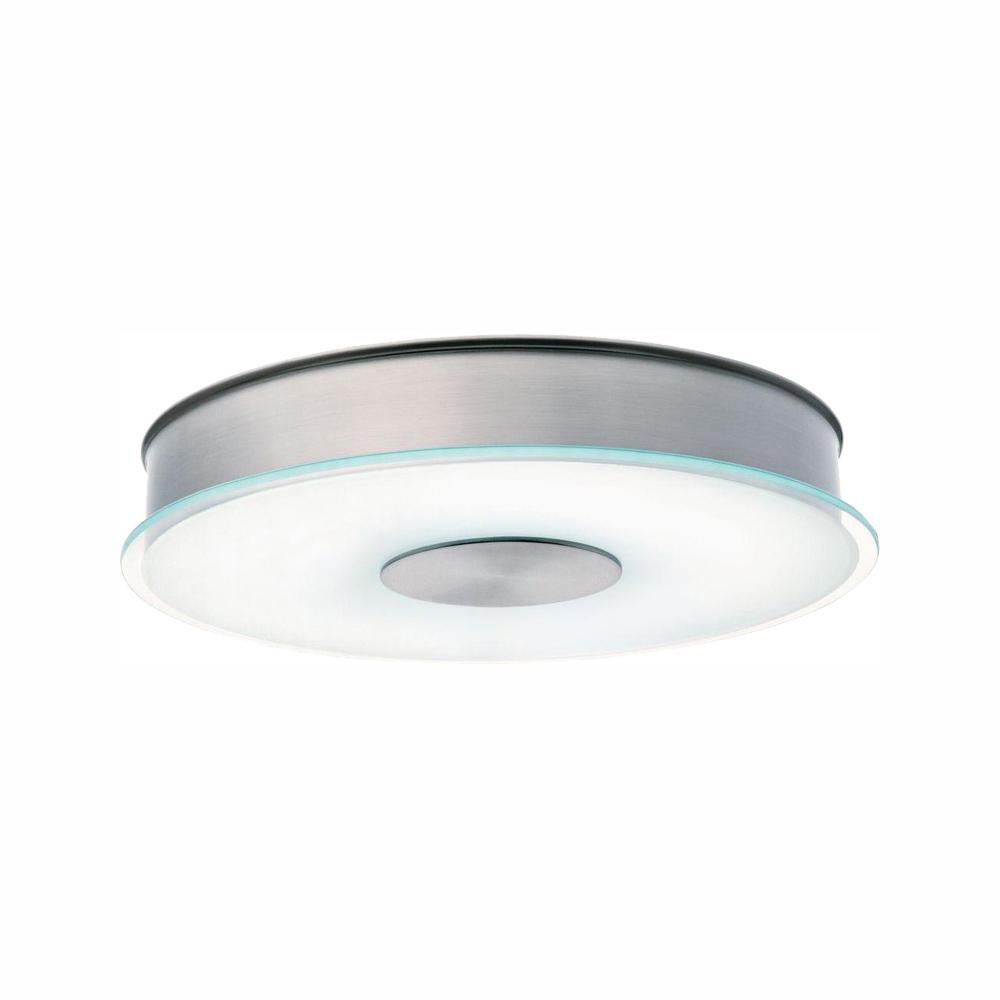 Lithonia Lighting 1 Light Polished Brushed Nickel Fluorescent Flush Mount With Disk Decorative