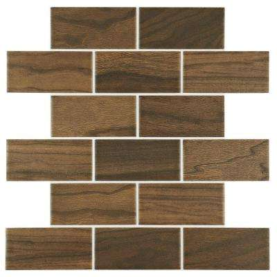 Parkwood Brown 12 in. x 12 in. x 6mm Ceramic Brick Joint Mosaic Floor and Wall Tile (0.833 sq. ft. / piece)