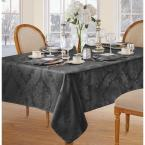 Elrene 60 in. W x 84 in. L OvaL Gray Elrene Barcelona Damask Fabric Tablecloth