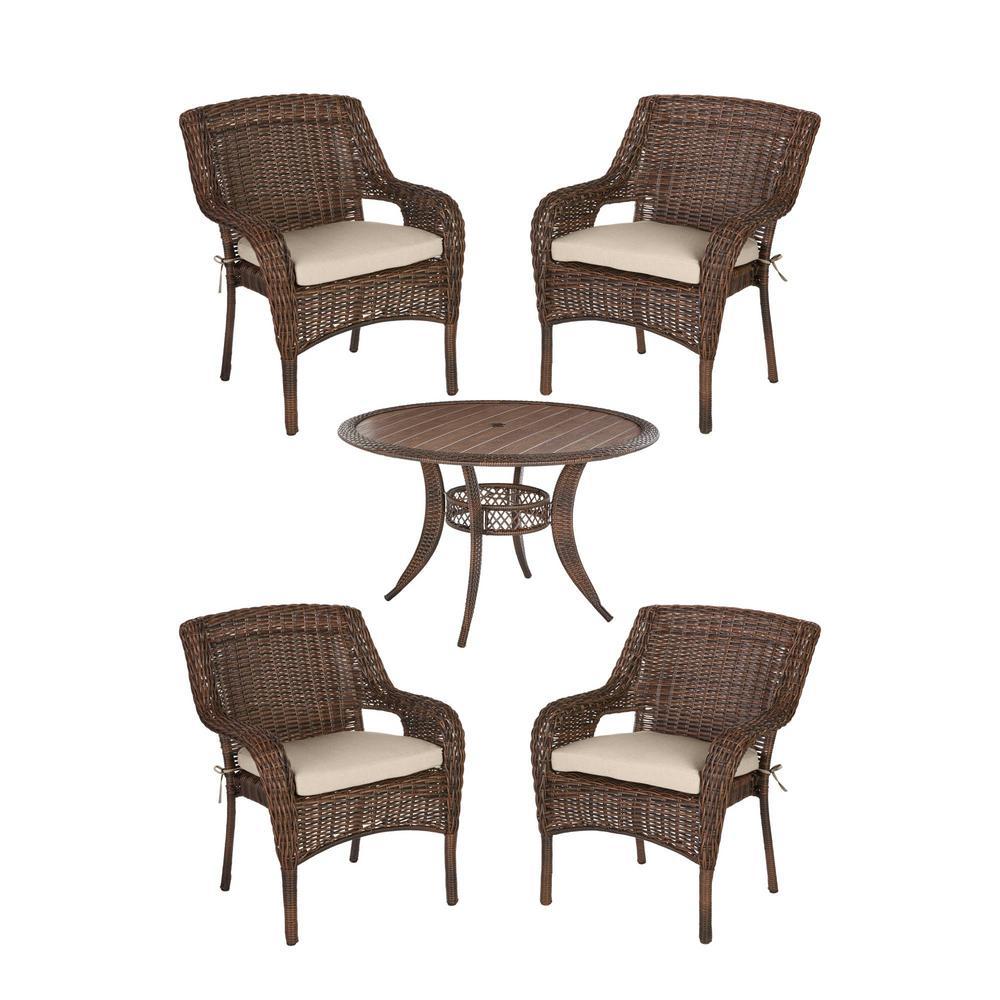 Cambridge 5-Piece Brown Wicker Outdoor Patio Dining Set with Sunbrella Beige Tan Cushions