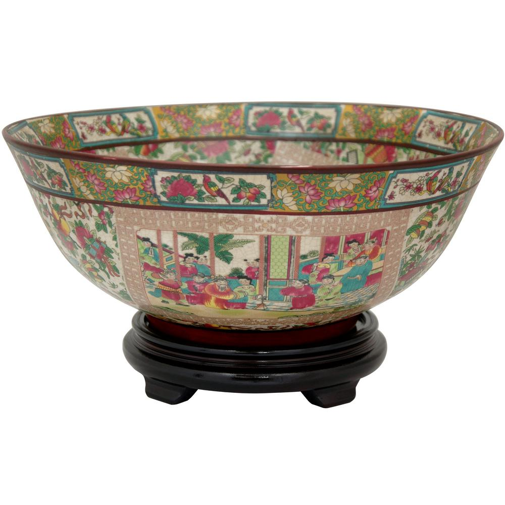 Oriental Furniture 14 In Porcelain Decorative Bowl Red Bw Rmd The Home Depot
