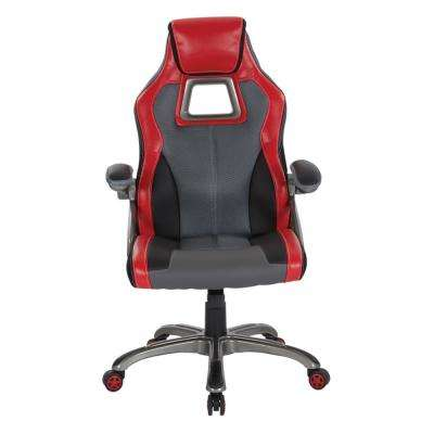 Race Chair in Charcoal Grey with Red Trim, White Stitching and Titanium Base
