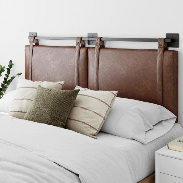 Nathan James Harlow 72 In King Wall Mount Faux Leather Upholstered Headboard Adjustable Brown Pu Straps And Black Metal Rail 94201 The Home Depot