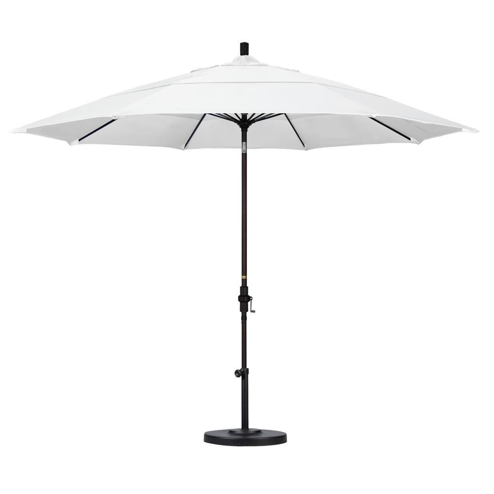California Umbrella 11 ft. Bronze Aluminum Pole Market Fiberglass Ribs Collar Tilt Crank Lift Outdoor Patio Umbrella in Natural Sunbrella