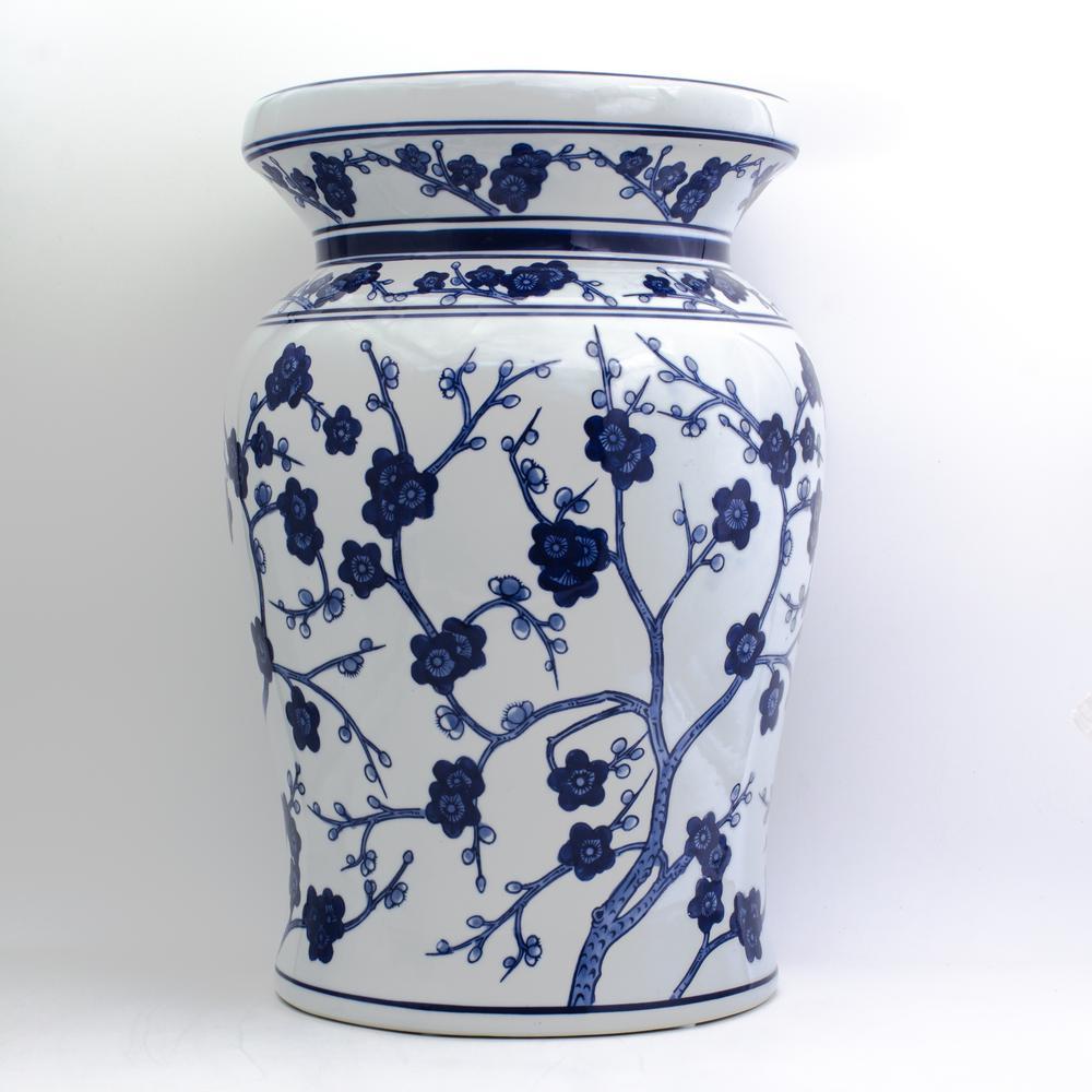 Blue Garden White Cherry Blossom Podium Stool 32045