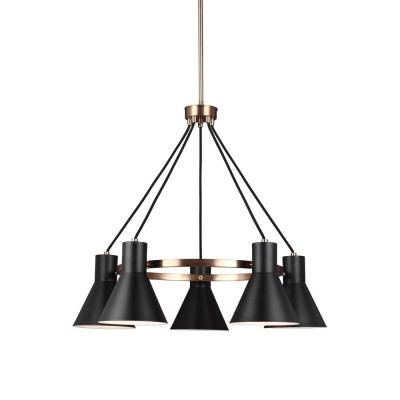 Towner 5-Light Black Shade with Satin Bronze Accents Chandelier