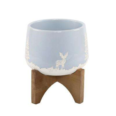 6 in. Light Blue Ceramic Christmas Trees and Deer Textured Planter on Wood Stand