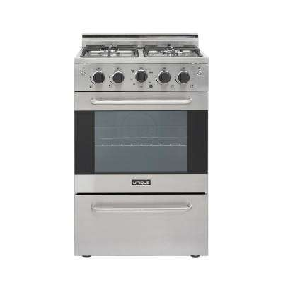 Prestige 24 in. 2.3 cu. ft. Gas Convection Range Sealed 4 Burners in Stainless Steel