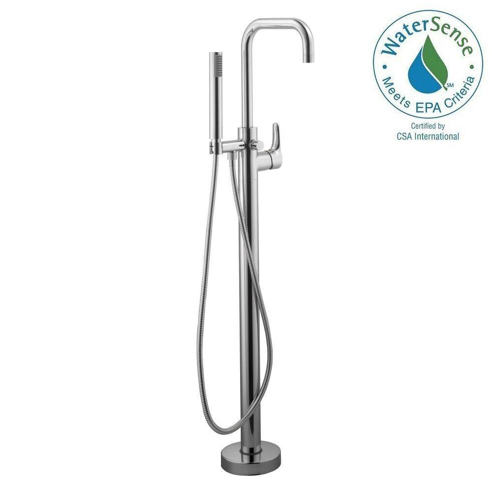 Schon Modern Floor Mounted Tub Filler In Chrome 67622 5001