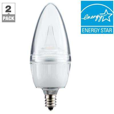 25W Equivalent Soft White (2700-1800K) Candelabra Dimmable LED Light Bulb with Candlelight Dimming (2-Pack)