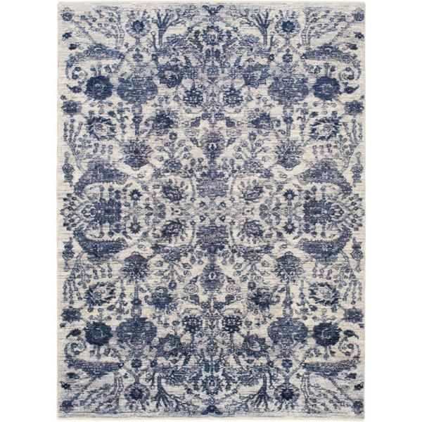 Stylewell Athena Blue Beige 8 Ft X 10 Ft Distressed Floral Area Rug 7750 197 65hd The Home Depot