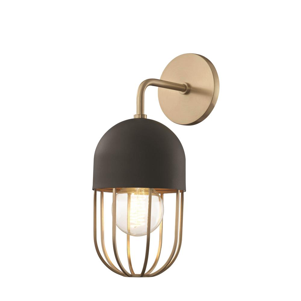 Mitzi By Hudson Valley Lighting Haley 1 Light Aged Br Wall Sconce With Black Accents
